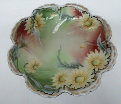 Antique / Vintage Japanese Porcelain China Hand Painted Daisy Flower Bowl