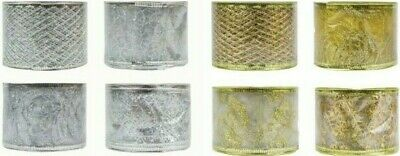 Gold Silver Christmas Wired Ribbon Hessian Glitter Decoration Gift Wrap L-2.7M