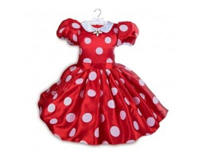 Disney Girls Red & White Polka Dot Minnie Dress size 4 with Ear Headband NWT