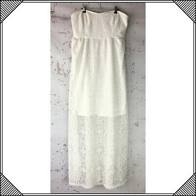 Vanity White Long Sleeveless Lace Dress Womens Size XL Strapless full length