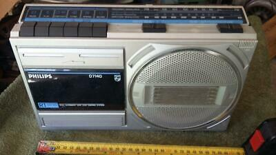 Vintage Phillips Radio Cassette Player,D7140.old,tape,tool,house,garage,parts.