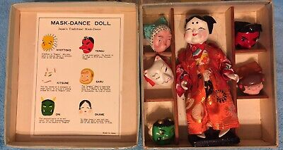 EXC CO*Japanese 6 Mask Set*Gofun Ichimatsu Doll w/stand* ORIG BOX*COLOR GRAPHICS