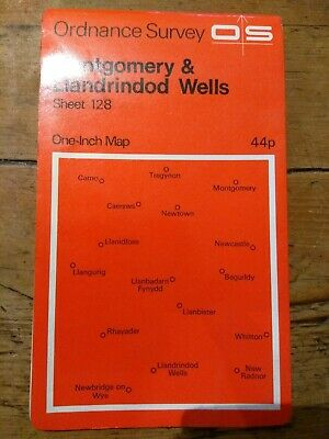"Vintage OS Ordnance Survey Map 1"" Sheet 128 Montgomery & Llandrindod Wells 1966"
