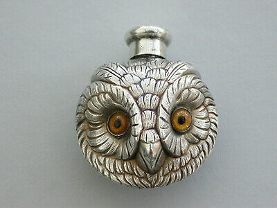 Edwardian Silver Owls Head Scent Bottle Sampson Mordan, London, 1901
