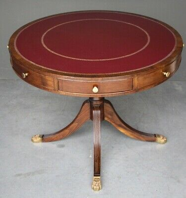 Antique Regency library drum table with 4 drawers leather inlaid brass mahogany