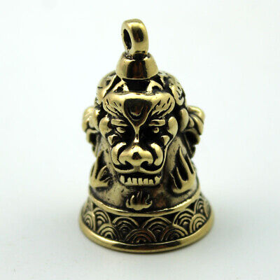 """Collectible Old Bronze Copper Lion Beast Head Small Bell Amulet Pendant 1.4"""""""