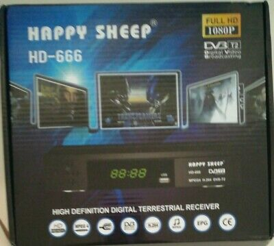 Decoder DVB T2 FULL HD HD666 HAPPY SHEEP Sistema PVR Uscita Scart E HDMI MPEG4