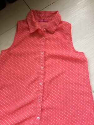 Girls Young Dimensions Age 11-12 Years Peach And White Spotted Sleeveless Blouse