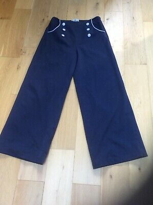 collectif Large 14 Blue Lined swing Trousers With Buttons