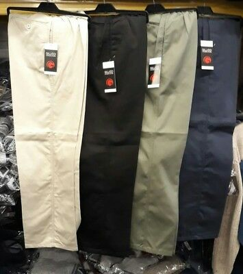 Mens Cotton Rugby Trousers UK Made Elasticated Waist Casual Smart Pocket Pant
