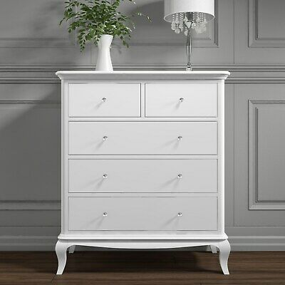 French Antique Style 2 + 3 Drawer Chest of Drawers with Crystal Handles in White