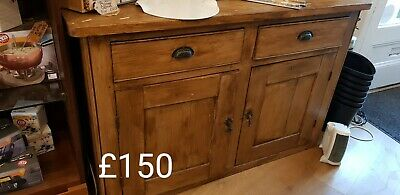 Beautiful Antique Solid Pine Cupboard, Sideboard, TV Cabinet Kitchen Shabby Chic