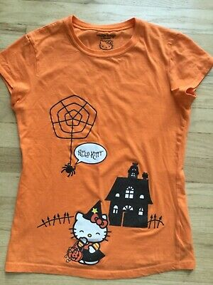 Girls Hello Kitty Orange Cotton Short Sleeve Halloween Shirt Size XL