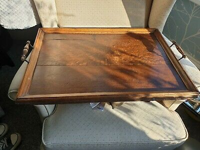 "Large Antique Victorian Mahogany Wood & Brass Tray Serving Butler's, 23""x 16"