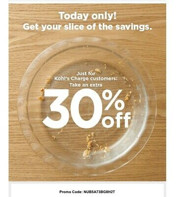 VALID 11/18 ONLY Kohls Coupon - 30% Off Purchase w/ ANY PAYMENT - Store & Online
