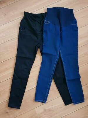 Womens Bundle X 2 over bump Maternity Jeans Indigo Black Size 10 New Look George