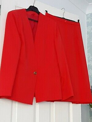 Red Vintage Ladies 2 piece Power Suit uk 12 14