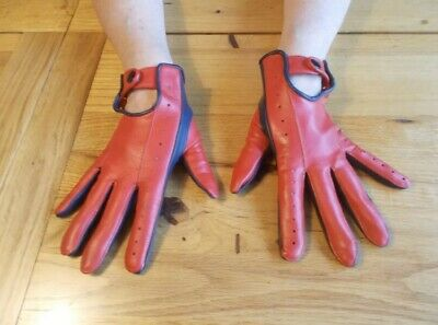 Vintage Red Faux Leather Driving Gloves