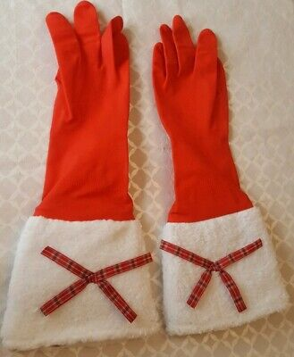 Christmas Rubber Gloves Red Washing Up Gloves. Faux Fur Cuff Tartan Bow. Medium