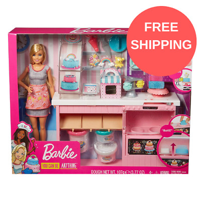 NEW Barbie GFP59 Cake Decorating Playset with Blonde Doll, Baking Counter Toy