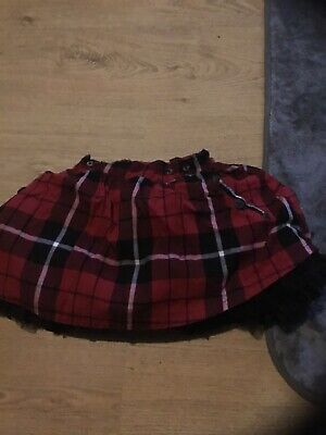 Next - Girls Pretty Red Tartan Tutu Skirt With Spotted Braces Age 2/3 Years.