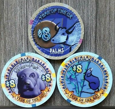 PALMS Las Vegas (3) $8 Chips  YEAR OF THE OX,  YEAR OF THE RAT,  YEAR OF THE DOG