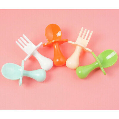 Baby Training Fork Spoon Set Newborn Soup Spoon Candy Colors Safety TablewareRR