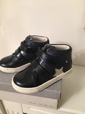 John Lewis Girls Navy Patent Boots Size 6 New