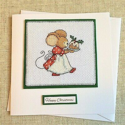 """Handcrafted Cross Stitch Keepsake Card Cute Mouse with Christmas Pudding 6 x 6"""""""