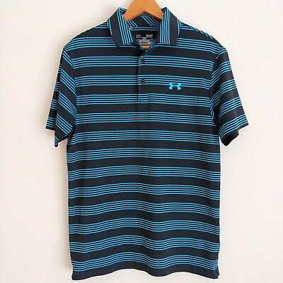 Under Armour Mens Heat Gear Polo Shirt Small Short Sleeve Black Blue Loose Fit