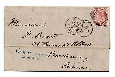 1876 Great Britain Circulated Envelopes,  2 1/2 Penny claret, PL 4