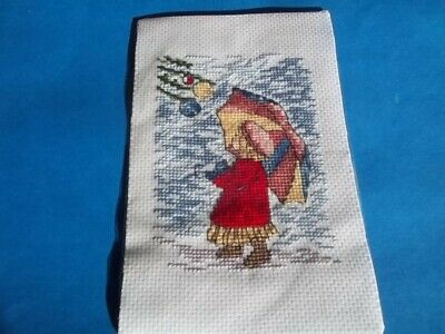 completed cross stitch christmas card topper
