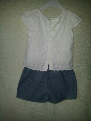 Girls Age 4 to 5 Years Blue White Playsuit Outfit Good Quality Condition Lovely!