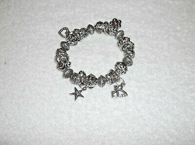 Ex-Display SILVER ACRYLIC BEADED Elastic BRACELET + CHARMS 7 Inches