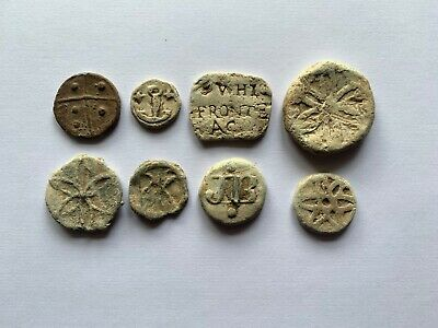 Metal Detecting Collection Of Post Medieval Lead Hop Tokens 16th to 18th Century