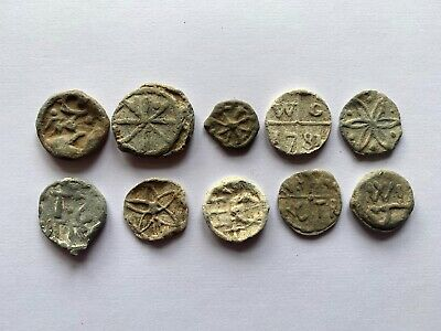 Metal Detecting Collection Of Post Medieval Lead Hop Tokens 16th/18th Century
