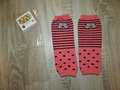 Girls Kids pink leg warmers/BOW knee warmers Size SMALL 2-5 years striped dotty