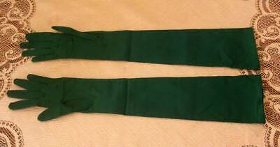 Vintage French Emerald Green Satin Gloves Neyret Evening Opera Size 6.5