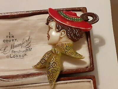 A wonderful 1920s /30s Art Deco hand painted Celluloid Brooch vintage jewellery