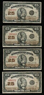 LOT OF 4x 1923 DOMINION OF CANADA DC-24d SHINPLASTER BANKNOTES TRENDS $110 CAD