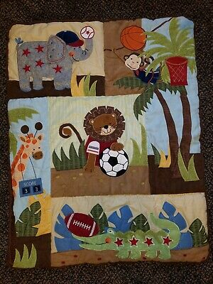 Jungle Safari Animal Sports Crib Bedding Quilt / Blanket / Comforter