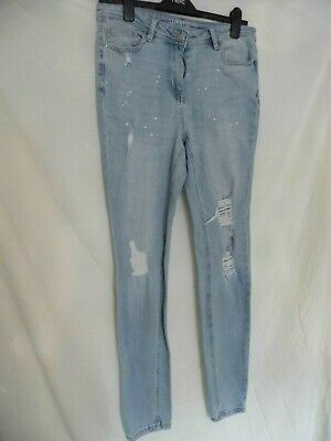 NEXT Ladies Girls Skinny Jeans Bleached Blue Stretch Ripped Distressed - 12 long