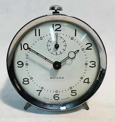 BAYARD France wind up clock alarm clock 1968 TESTED & WORKING