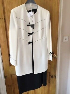 Condici black and white mother of the bride/formal outfit with fuchsia hat UK 16