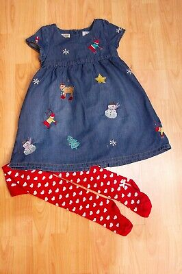 Girls Christmas Denim Jean Dress from Next age 4-5 years & Tights