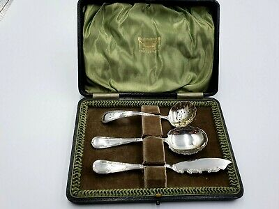 Antique Sterling Silver Jam Spoon, Sifter And Butter Knife, L & S Birm 1912