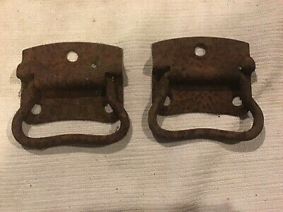 Antique Iron Handles drawer / box  Vintage Old Architectural X2 LOOK