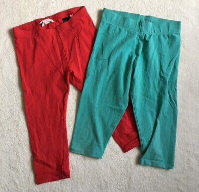 ***Mini Boden/H&M girls Blue/Red cropped leggings x2 8-9 years***
