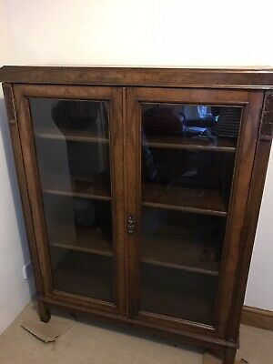 Victorian Glass Fronted Bookcase Book Shelves Display Cabinet