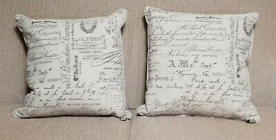 2 Throw Pillows signature calligraphy art signed hand writing